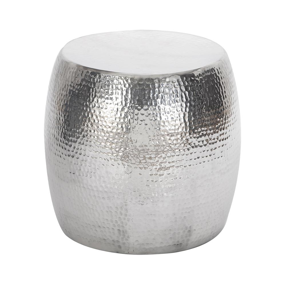 litton lane silver hammered aluminum accent table the end tables drum shaped inch round tablecloth waterproof patio chair covers oval glass dining bbq side distressed grey