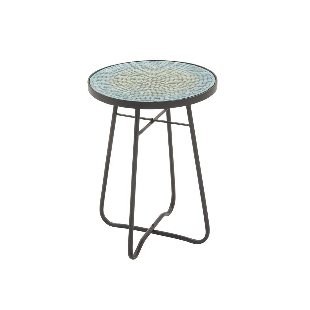 litton lane turquoise mosaic round accent table the end tables outdoor pier one wall decor vintage white wicker coffee ryobi nesting dining and chairs metal pottery barn marble