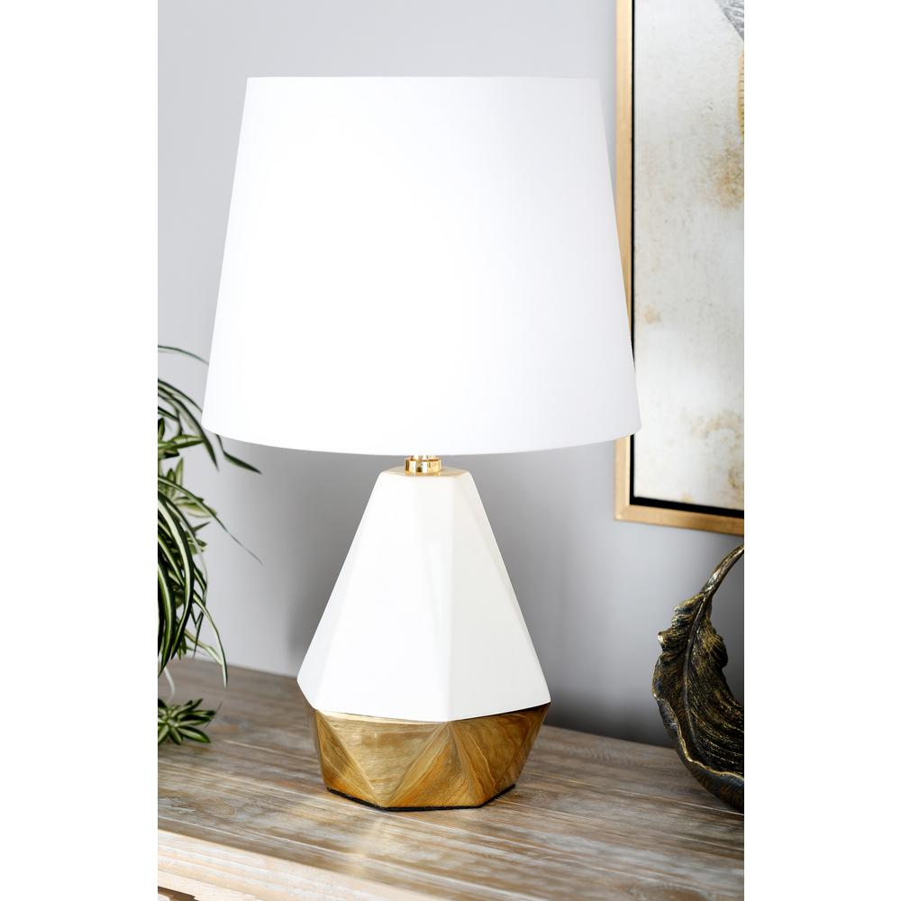 litton lane white faceted pear shaped table lamp with gold lamps antique accent glass top accents piece coffee set drawer cabinet queen futon cover slim side furniture corner