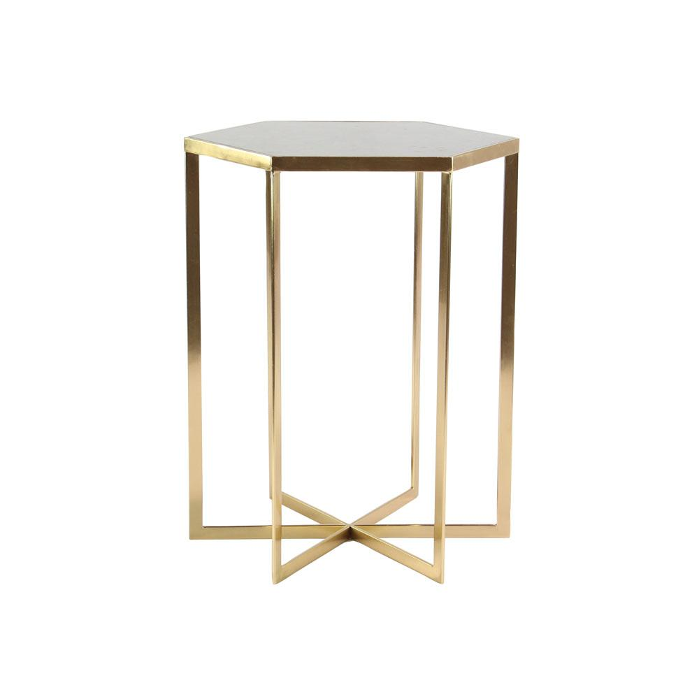 litton lane white hexagonal accent table with gold rim the multi colored end tables childrens and chairs kmart kitchen chair cushions ties mission style target teal solid cherry