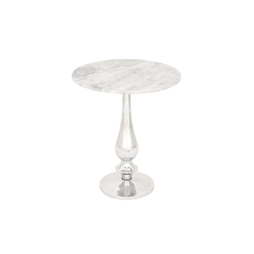 litton lane white marble round accent table with silver aluminum end tables metal pedestal stand the zinc patio beverage cooler center design for living room square legs