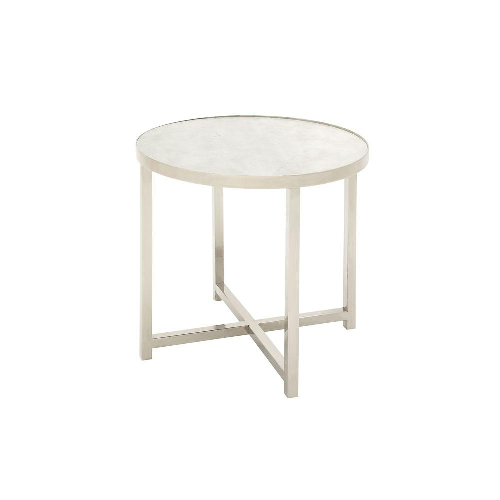 litton lane white round accent table with silver legs the end tables nesting coffee urban loft furniture square trestle console desk drawers modern pedestal side eames chair