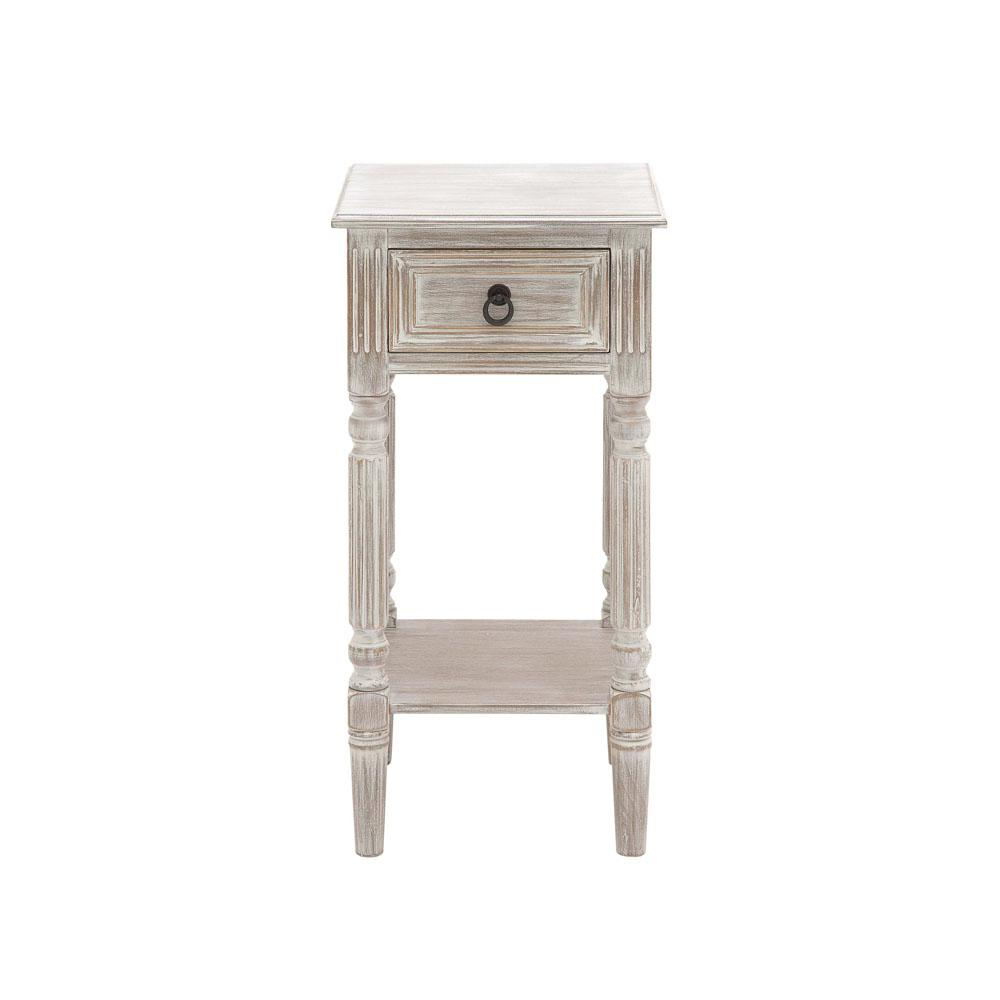 litton lane whitewashed taupe wooden accent table with drawer and end tables shelf bottom pedestal dining room white garden stool side small glass chairs vinyl floor threshold