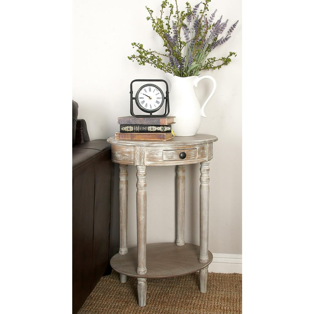 litton lane whitewashed taupe wooden oval accent table with drawer end tables shelf and bottom moroccan tile three side small glass chairs metal pin legs stacking portable coffee