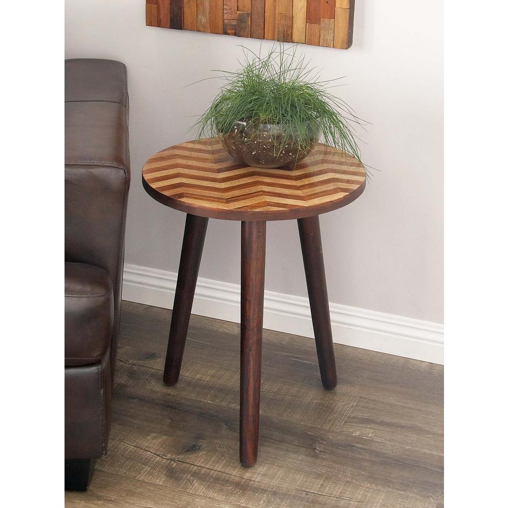 litton lane wooden chevron patterned round accent table dark brown wood end tables inch legs hobby lobby lamps console white resin coffee farm style dining modern mirrored