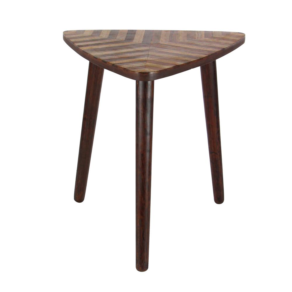 litton lane wooden chevron patterned triangle accent table dark brown wood end tables feet dining room simple coffee corner umbrella fitted nic covers cotton napkins mosaic tile