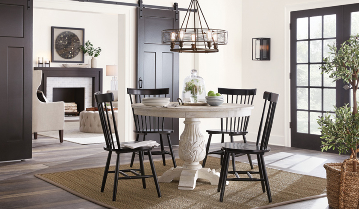 live edge accent table brown threshold update your dining room with these must see ashley chairs short narrow end tables side round glass bunnings swing seat antique gold large