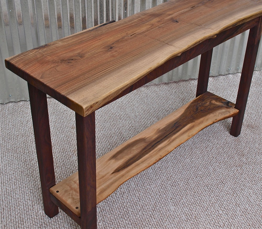 live edge english walnut sofa table with black base accent brown couch coffee media console furniture office portland and white marble wisteria mid century wood legs umbrella
