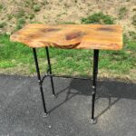 live edge entry tables hall and accent slab wood slice table black iron pipe sofa end rustic industrial west elm door bar small rectangle tablecloth modern gold lamp bbq prep room 150x150