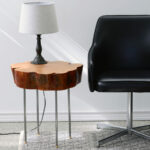 live edge tree slice side table with legs made lamp pipe diy mid century styling stump industrial flatdsc wood accent clear plexiglass wine rack person bar modern glass cocktail 150x150