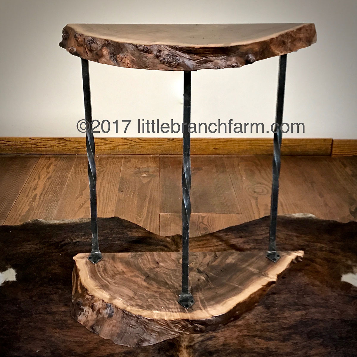 live edge wood accent table littlebranch farm forged iron end tables slab rustic bedside blue buffalo dog treats footlocker storage trunk steel pipe legs screw chair fabric crate