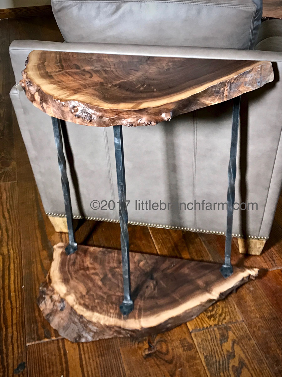live edge wood accent table littlebranch farm natural furniture custom hybrid saddle drum stool small desk with hutch farmhouse dining and chairs concrete top coffee decorative