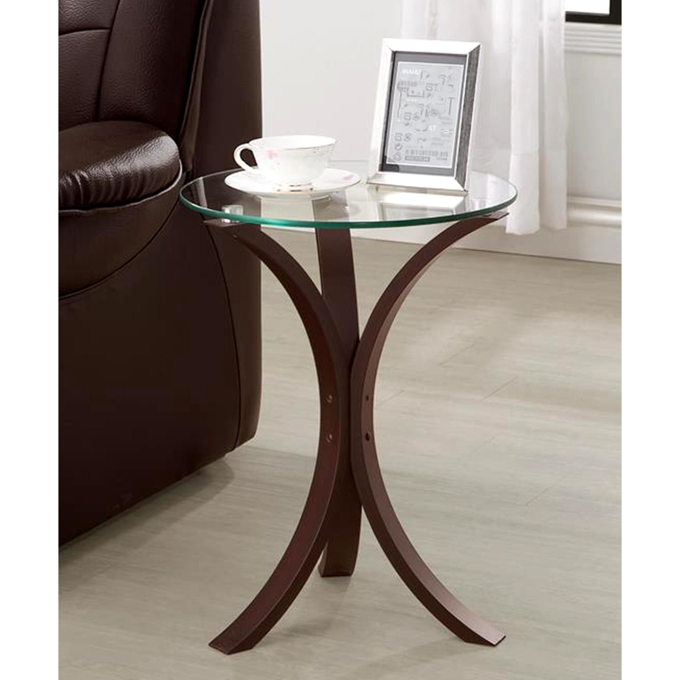 living room accent snack table with glass top cappuccino brown tables reclaimed oak furniture target gold flatware clear end bunnings swing chair bedside round tablecloth tall