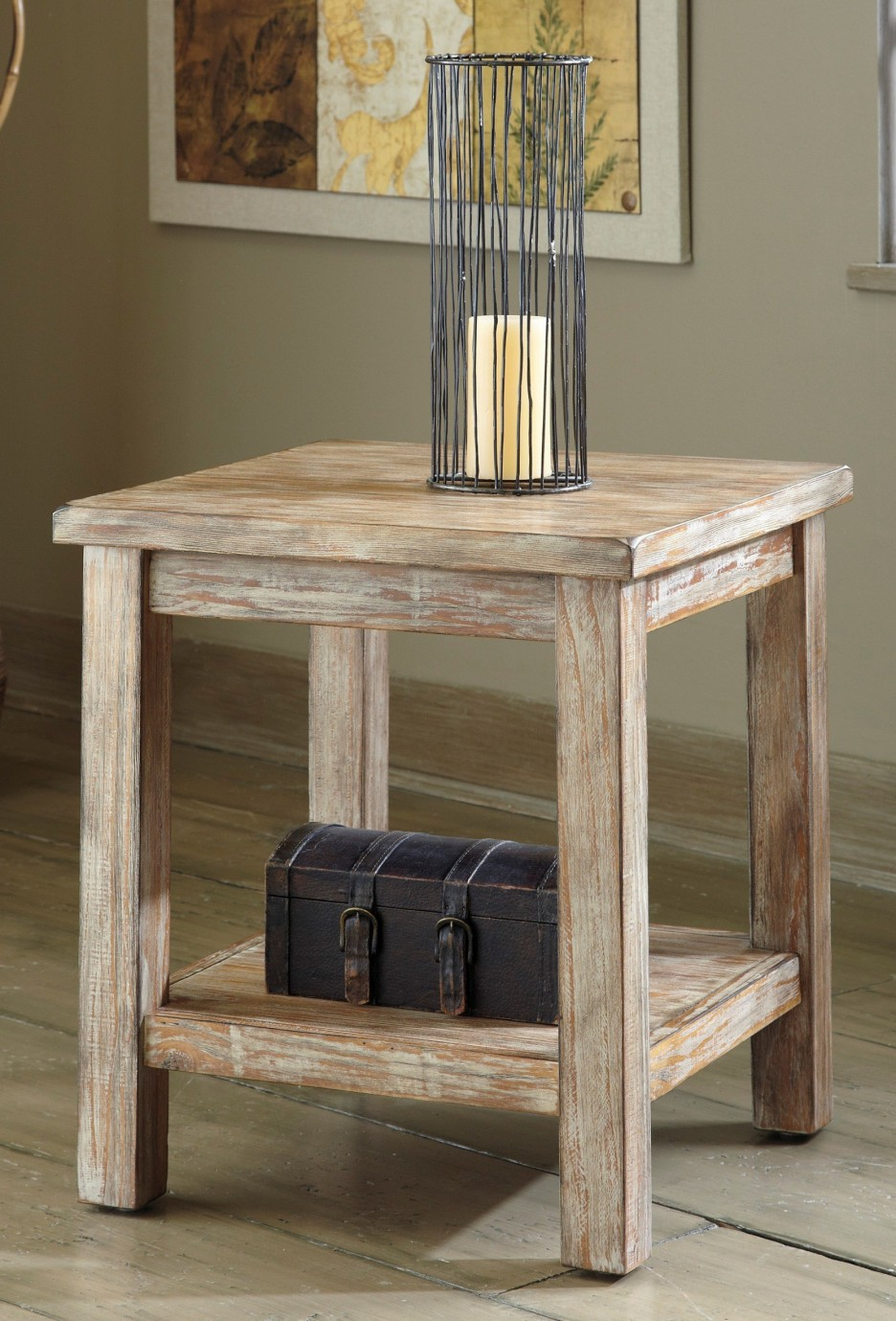 living room accent teak wood end table design idea with square wooden side tier round black metal mission candle holder finish jewelry storage box lid chair lighting mackenzie