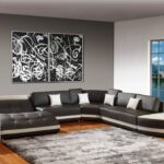 living room accent walls white leather sofa design grey fabric vertical curtain sectional dark brown wooden laminate flooring table strorage gray wood coffee with metal frame long 150x150