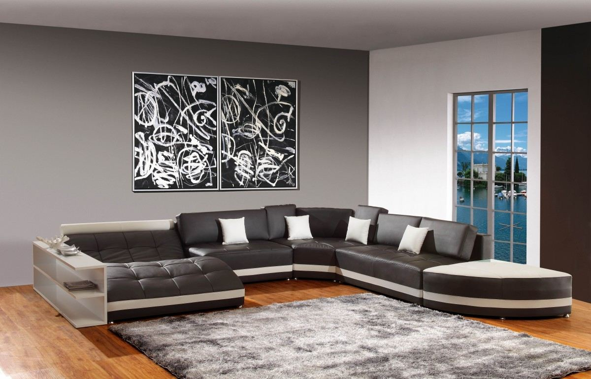 living room accent walls white leather sofa design grey fabric vertical curtain sectional dark brown wooden laminate flooring table strorage gray wood coffee with metal frame long