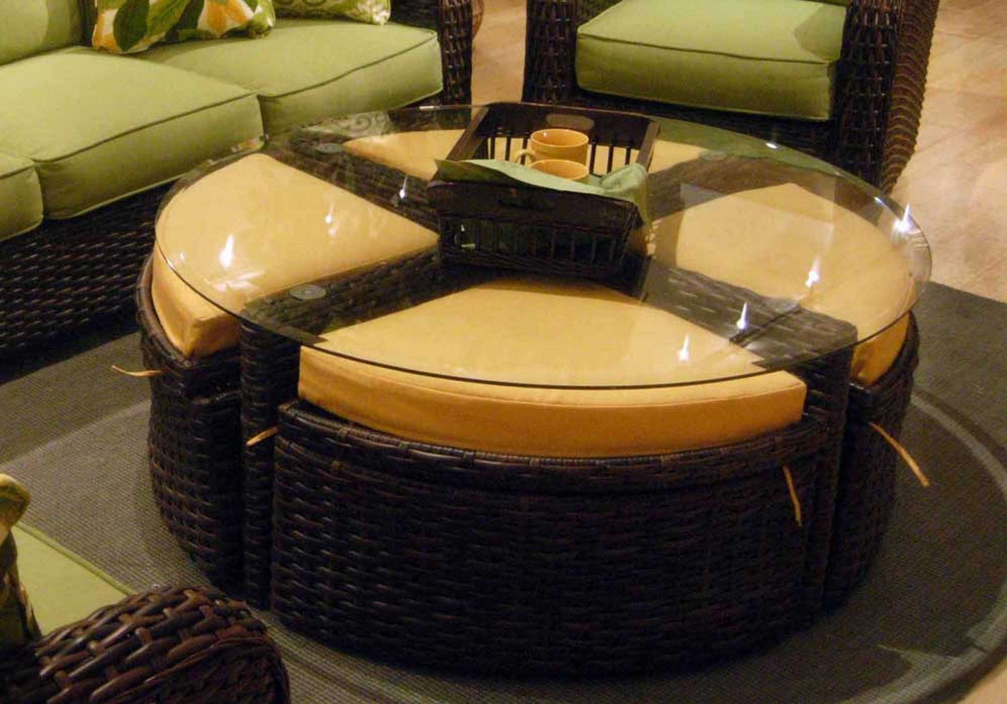 living room all weather wicker accent table brown patio side dark rattan coffee square ott outdoor full size marble top furniture nautical hanging lantern homemade wood ellipsis