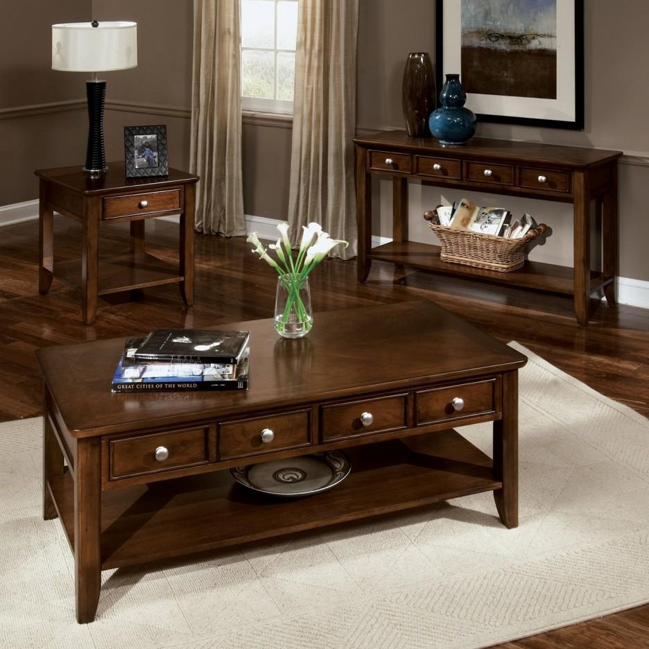 living room attractive side table decorating ideas fantastic for modern brown varnished wood end drawer shelves dark wooden laminate flooring beige rattan storage basket black