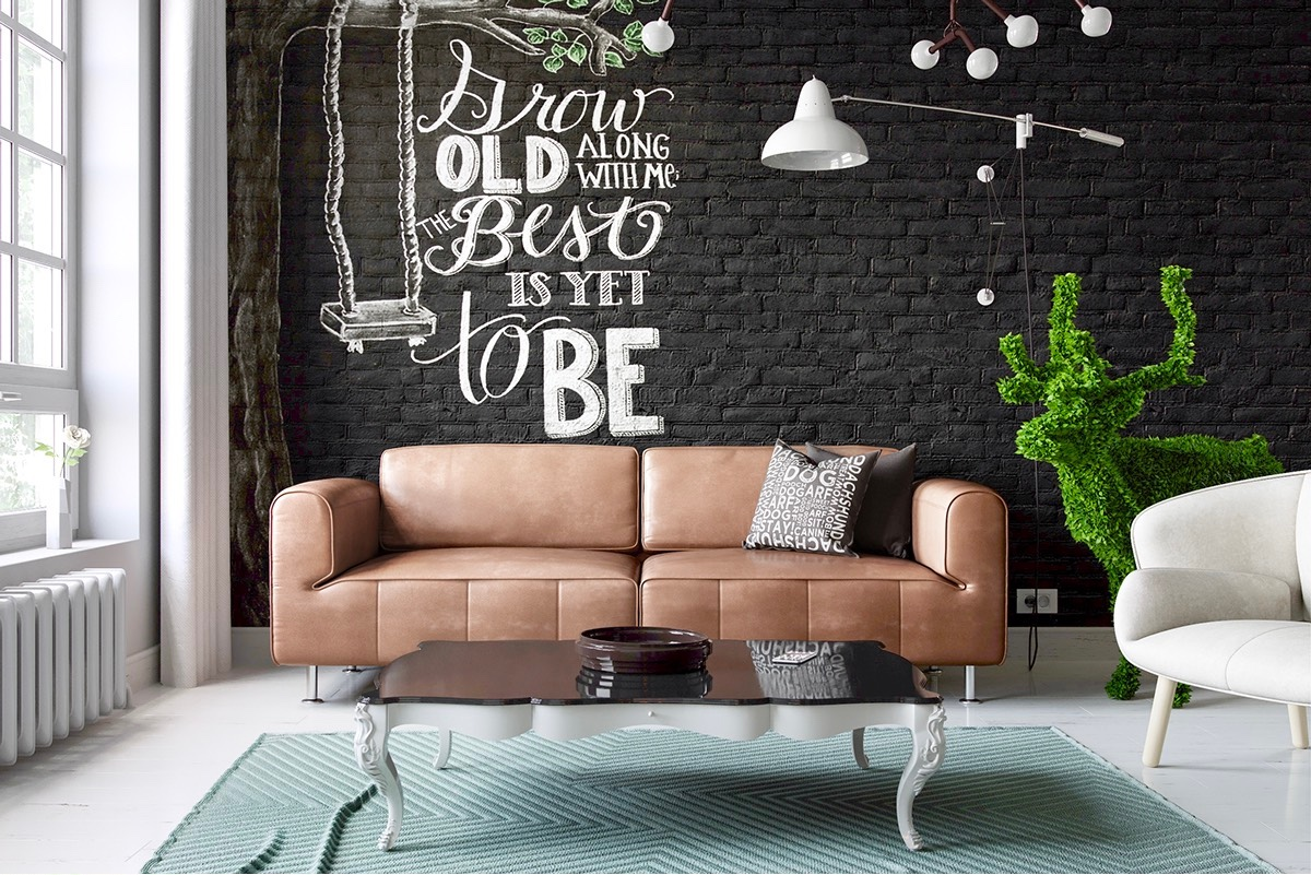 living room brick wall design spaces accent chairs side tables grey wallpaper kitchens with walls hammered metal table purchase linens teal blue end small white console dining