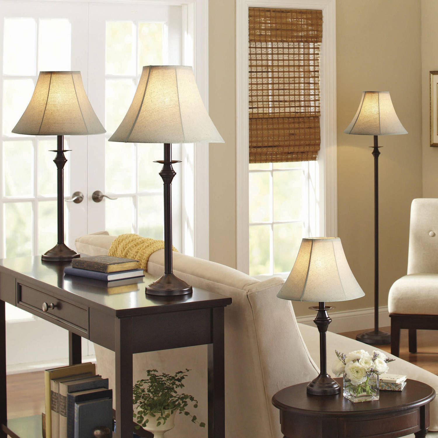 living room piece lamp set floor table accent lamps leather shade light decor black side small for bedroom cherry wood dining and chairs wooden storage crates ikea long skinny