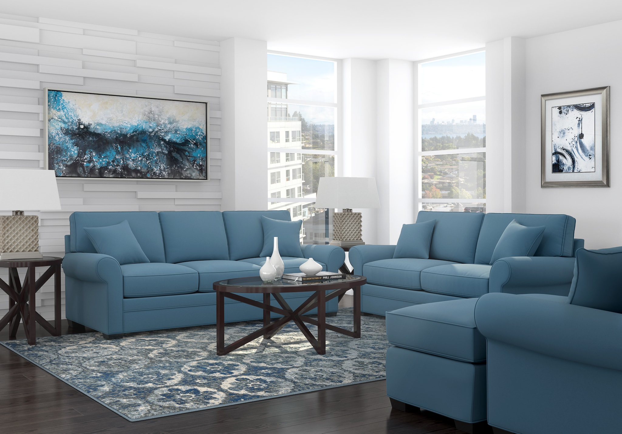 living room sets suites furniture collections bellingham indigo cindy crawford home ave six piece fabric chair and accent table set now dining mini tiffany style lamps quilt small