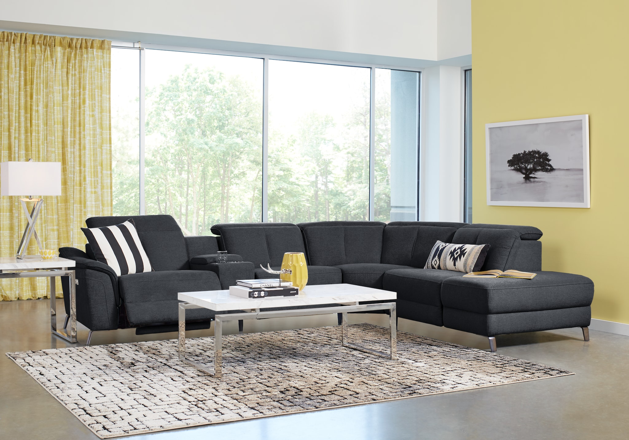 living room sets suites furniture collections turano midnight laf sofia vergara power plus reclining sectional ave six piece fabric chair and accent table set now next