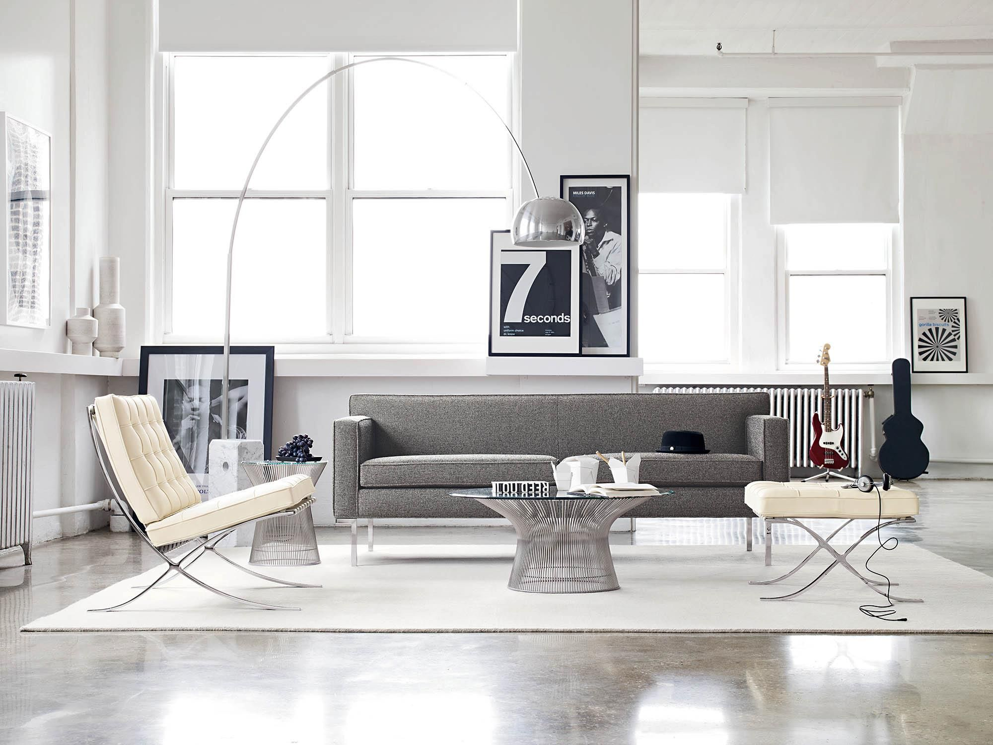 living room with barcelona chair mies van der rohe nate berkus glass agate accent table white porcelain lamp mudroom storage units distressed gray end side wicker drawers upcycled