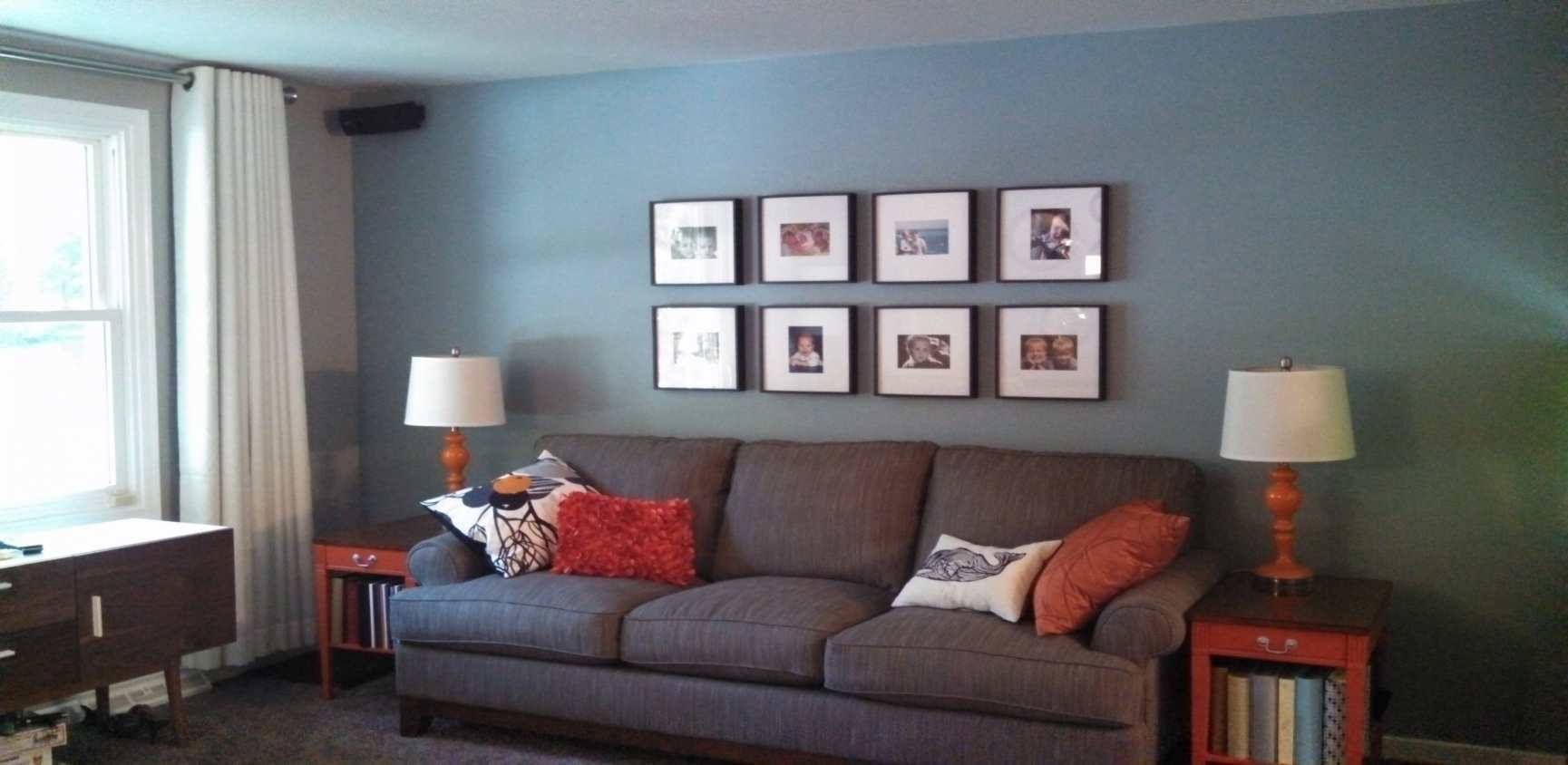 living room with orange accents also new gray blue wall sofa accent tables table behind couch metal floor threshold inch clock outdoor iron coffee round end dinette sets marble