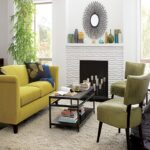 living room yellow fabric loveseat sofa white rug black wood coffee table accent chairs lacquered floor round side lamp fireplace decorative urns bamboo plant accents ideas full 150x150