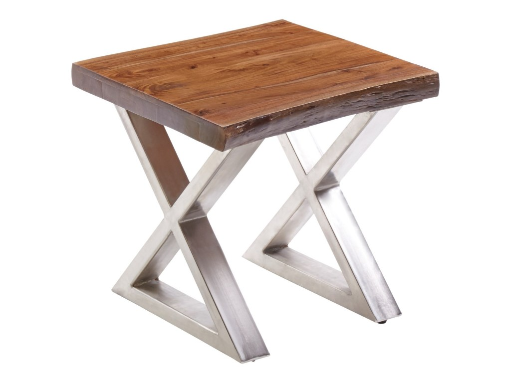 living the edge end table with wood and metal legs morris products stein world color live accent brown threshold home edgeend kirklands bar stools tall entryway cabinet ashley