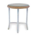lloyd flanders weekend retreat round wicker end table accent painted chest inch wide sofa beer cooler silver drum coffee small console with shelf gold and glass clear white 150x150