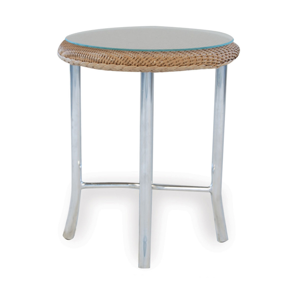 lloyd flanders weekend retreat round wicker end table accent painted chest inch wide sofa beer cooler silver drum coffee small console with shelf gold and glass clear white
