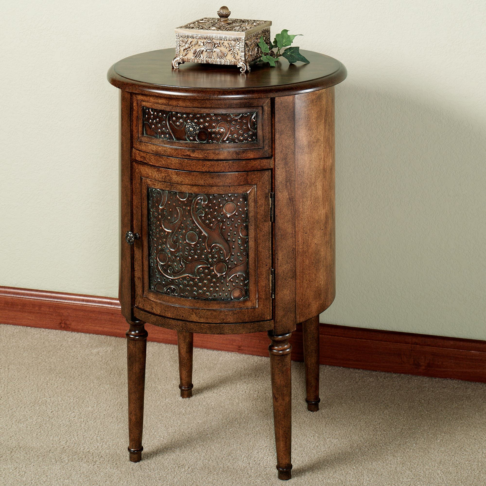 lombardy round storage accent table with drawer english walnut touch zoom tall glass side three legged off white coffee and end tables square dining best drum throne under chests