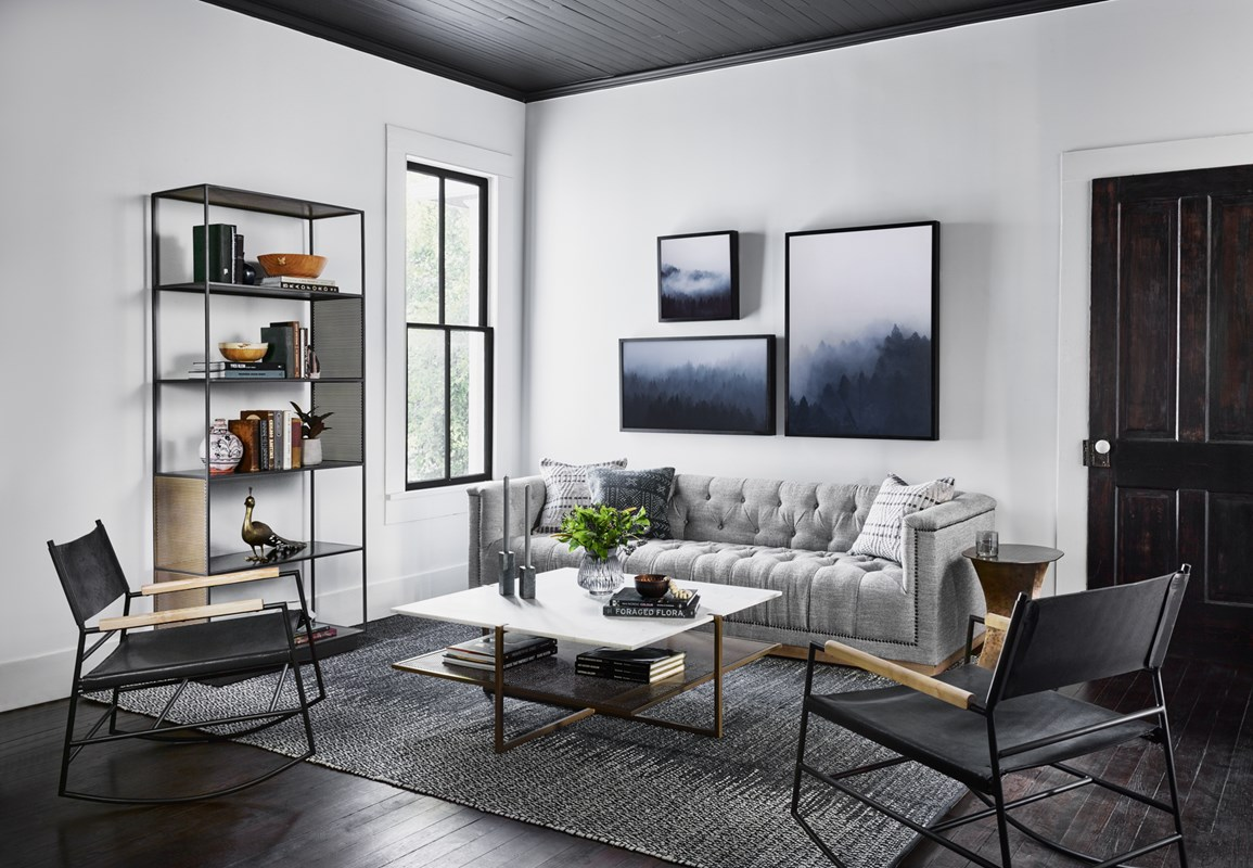 lookbook gallery maxx sofa and olivia square coffee table with jack leather rocker zadie bookshelf mila accent black top grain rocking chair perforated brass round glass gold base