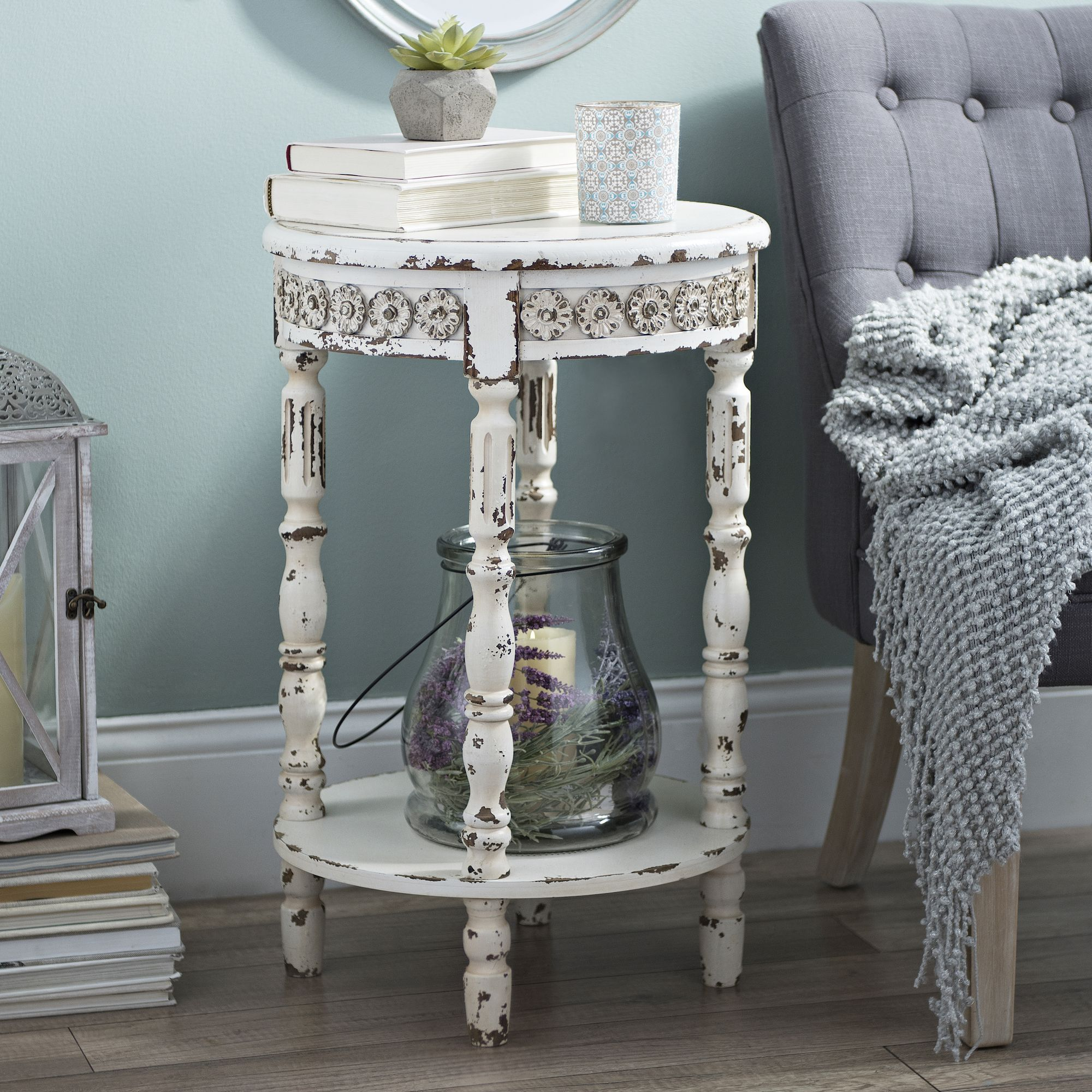 looking touch sophistication your simplistic decor antique small accent tables the vintage white medallion round table for balance you desk legs ikea storage shelf unit wine