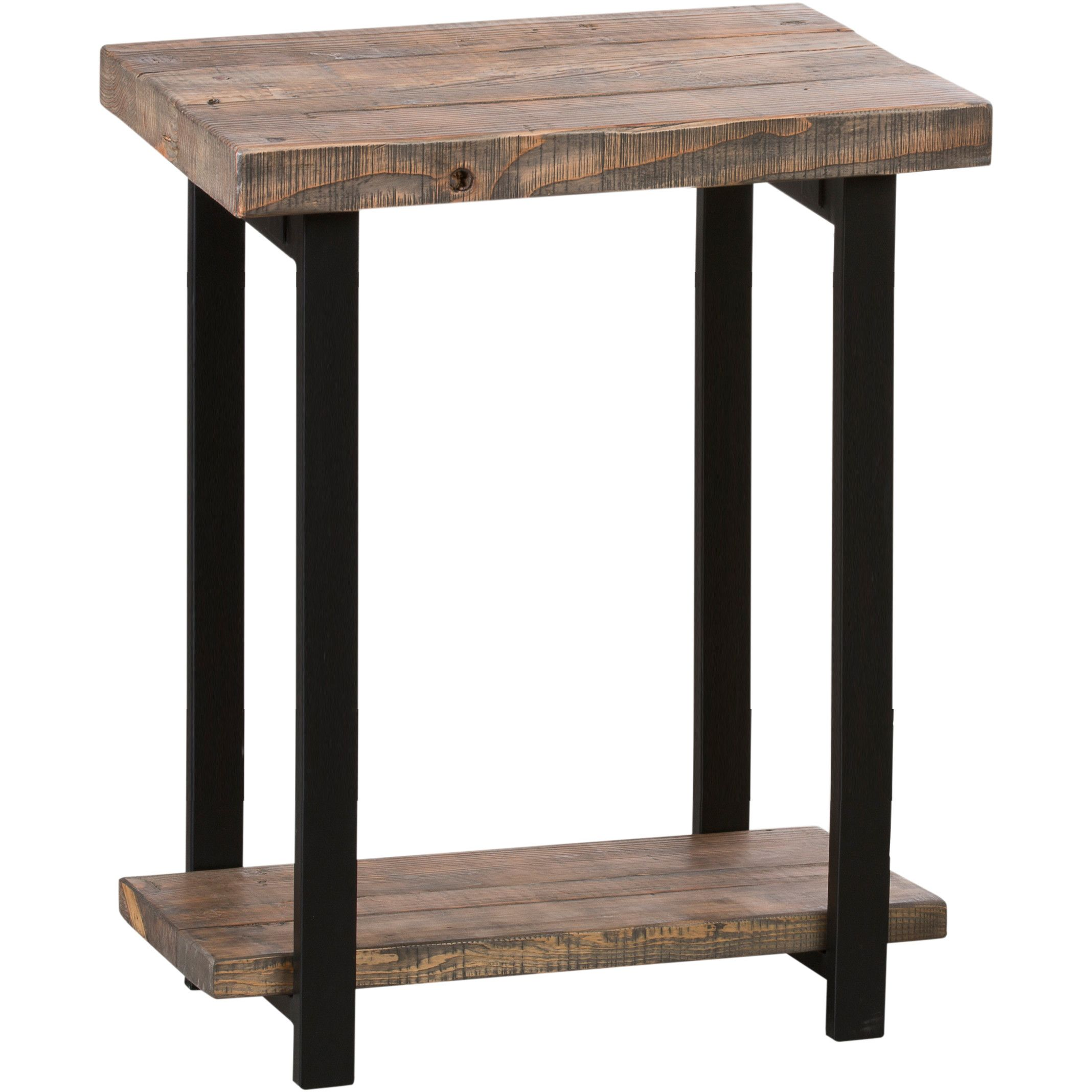 loon peak somers reclaimed wood metal end table family room rustic accent tables antique round with drawer pink lamp garden furniture ikea nightstand pieces modern coffee toronto