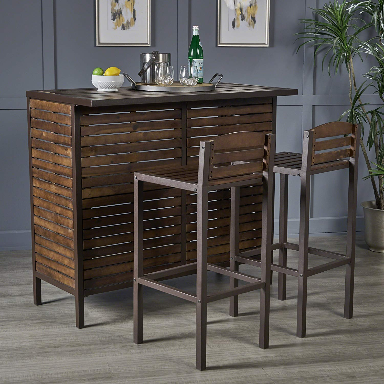 lorelei indoor dark brown acacia bar set with rustic glass accent table metal finish accents kitchen dining wine cabinet nautical room jules small outdoor storage marble coffee