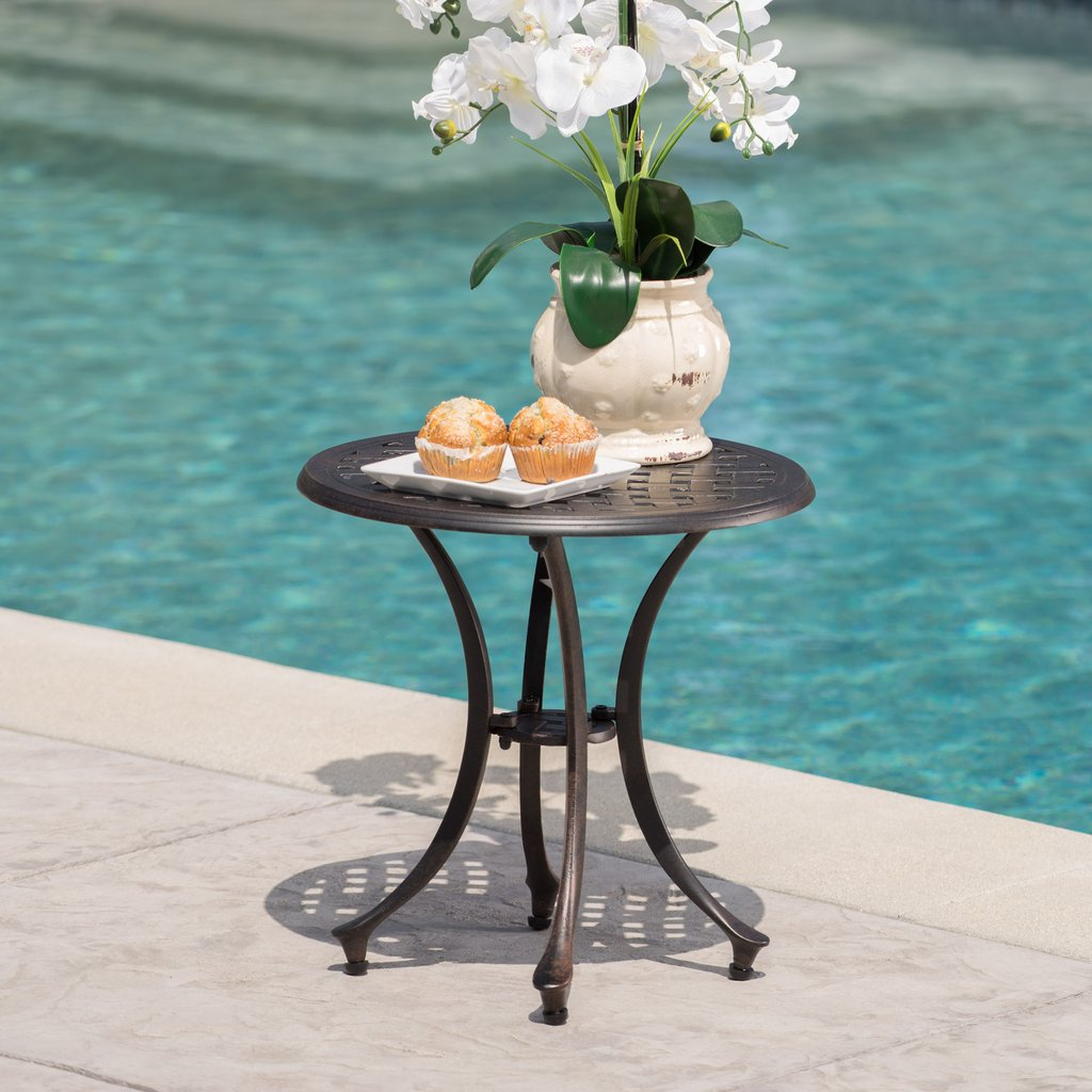 louis outdoor inch bronze finished cast aluminum side table ikea storage drawers small half moon console with drawer tall cabinet glass doors light pink end weber grill plastic