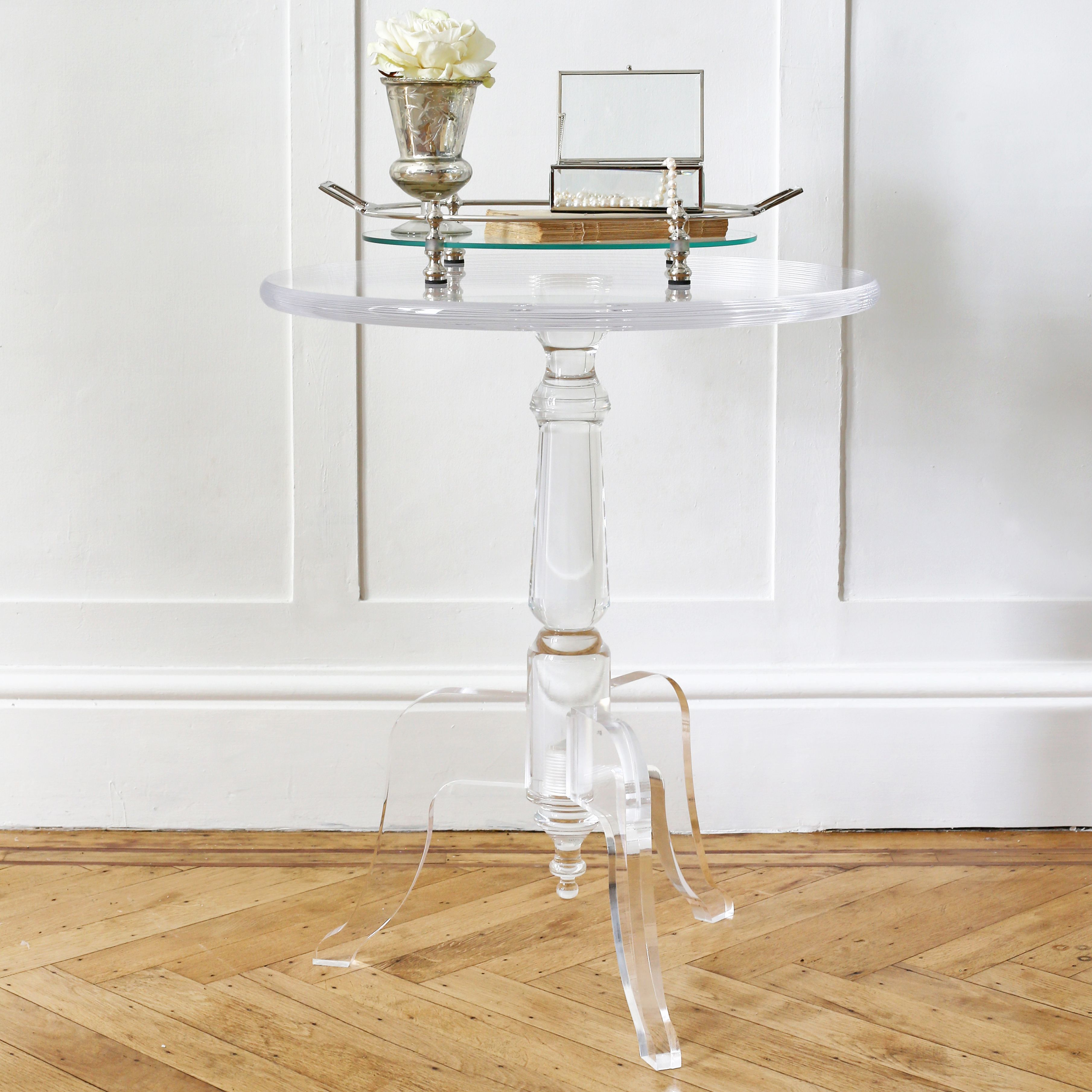 love the look this lucitelux acrylic table light yet clear zella accent substantial same time linens chandelier bedside lamp umbrella tablecloth factory home goods tables cherry