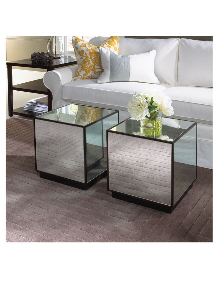 love this antique mirrored cube mitchell gold bob williams accent table great coffee side tables night stands west elm dishes yellow target contemporary lamp for living room lamps