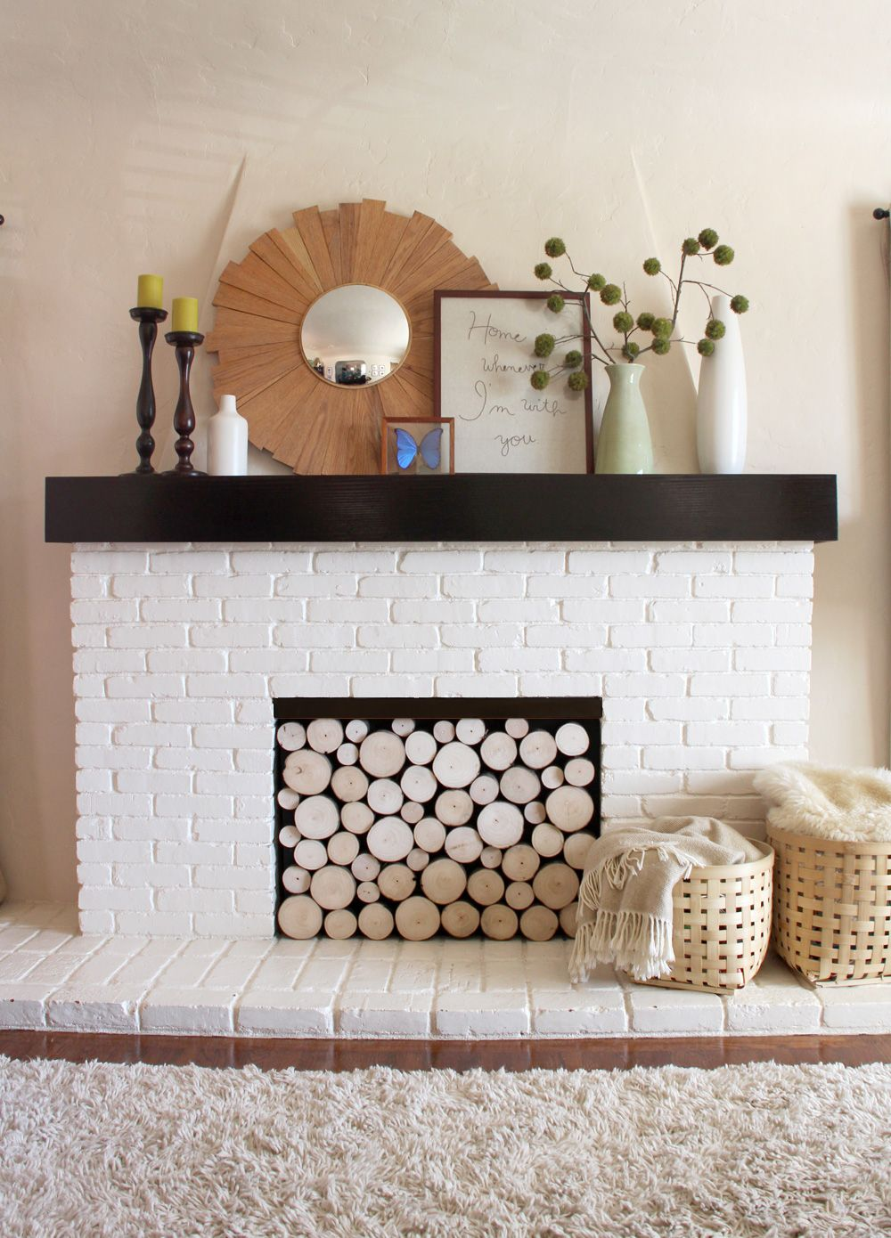 love this brilliant faux stacked log fireplace pepper crate and barrel marilyn accent table design blog great diy project tutorial small skinny end entry mat lamp combo drop leaf
