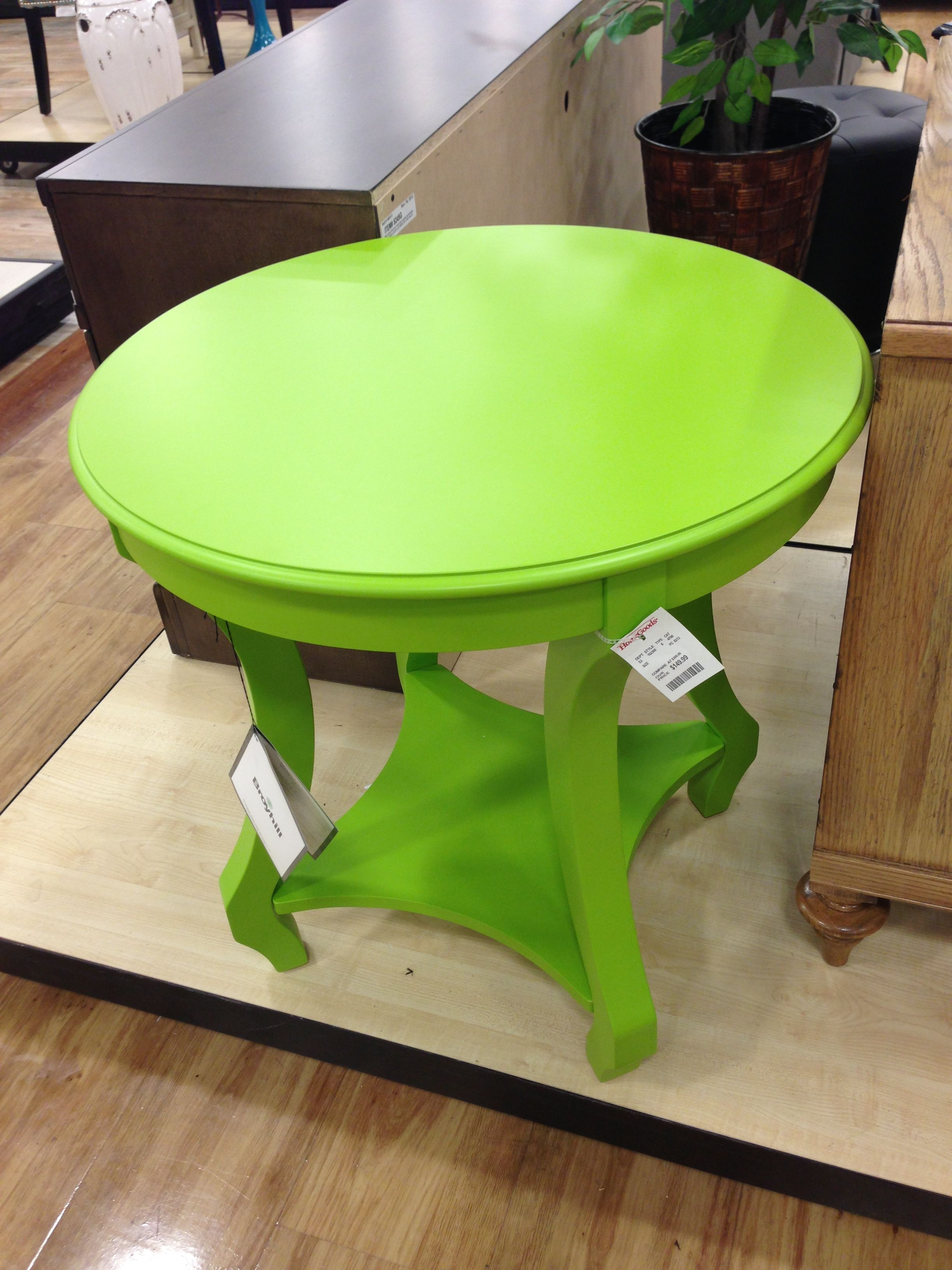 love this lime green accent table from homegoods for the home goods tables marble glass end round drum side tall bar with chairs fall linens adjustable coffee nautical wall