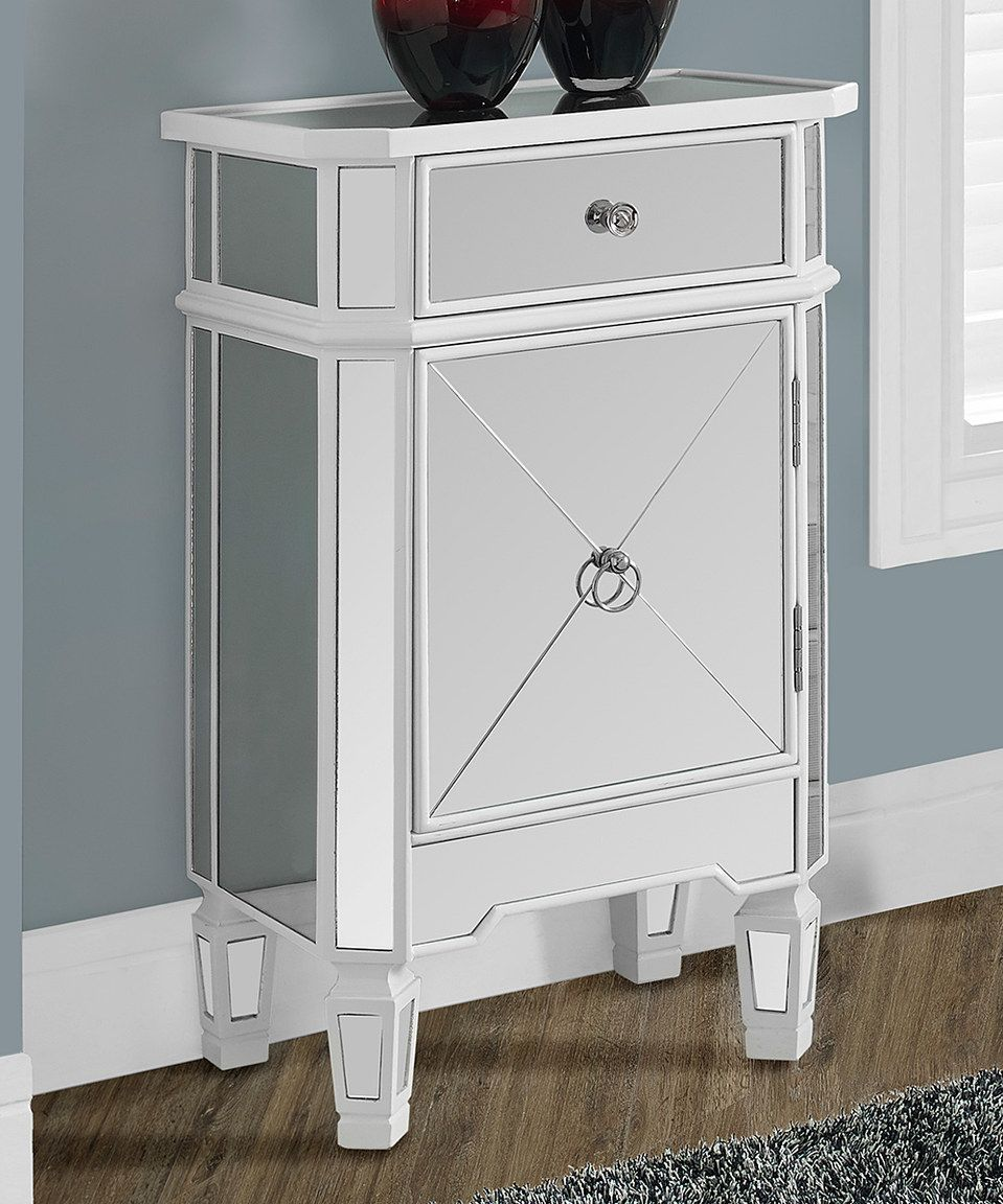 love this satin white mirror single cabinet accent table monarch mirrored specialties zulily zulilyfinds target bedroom vanity real marble coffee small crystal lamps carved