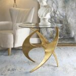 luca side table love things furniture glass accent tables contemporary antique gold metal base with round tempered top home interior accessories percussion stool sofa set tall 150x150