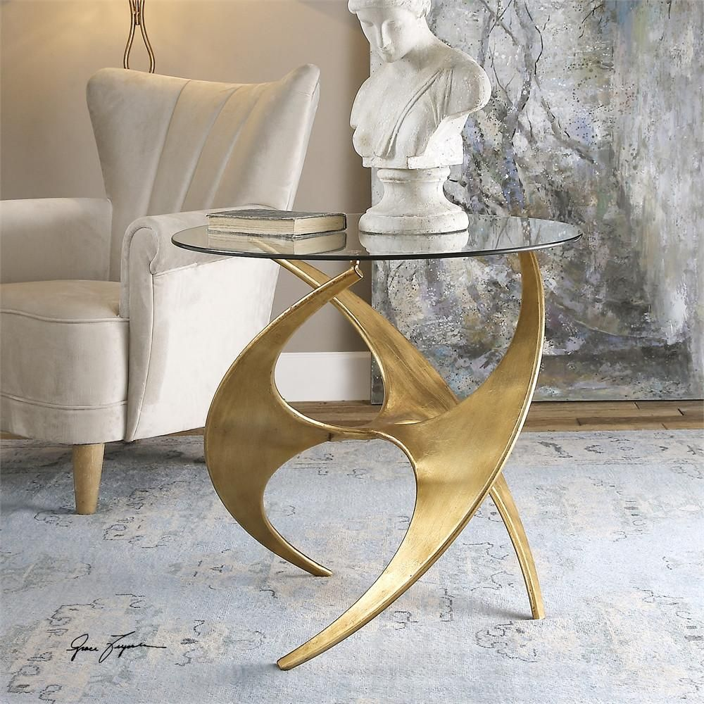 luca side table love things furniture glass accent tables contemporary antique gold metal base with round tempered top home interior accessories percussion stool sofa set tall