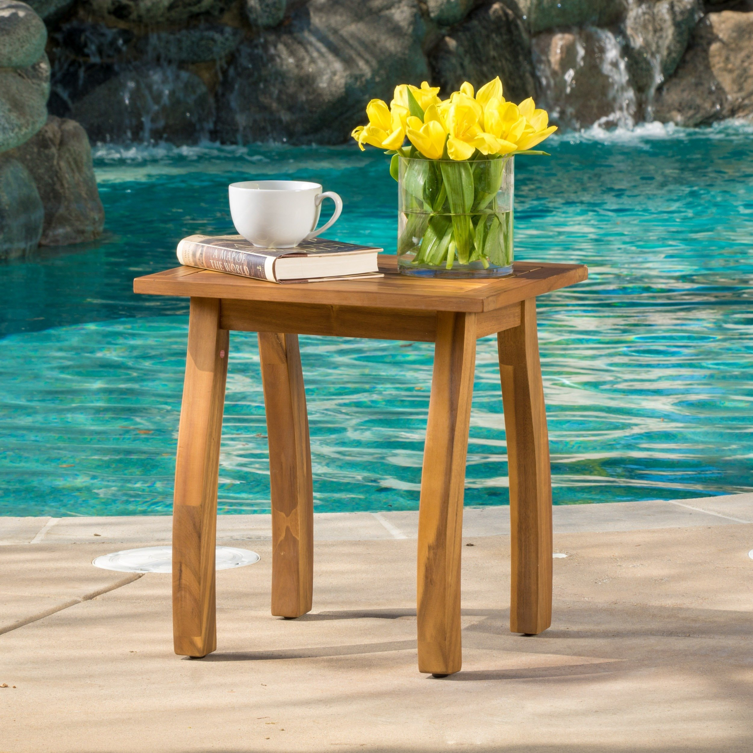 lucca outdoor acacia wood side table christopher knight home free shipping today ikea pot rack small garden and chairs drop leaf coffee modern sets west elm acorn round furniture