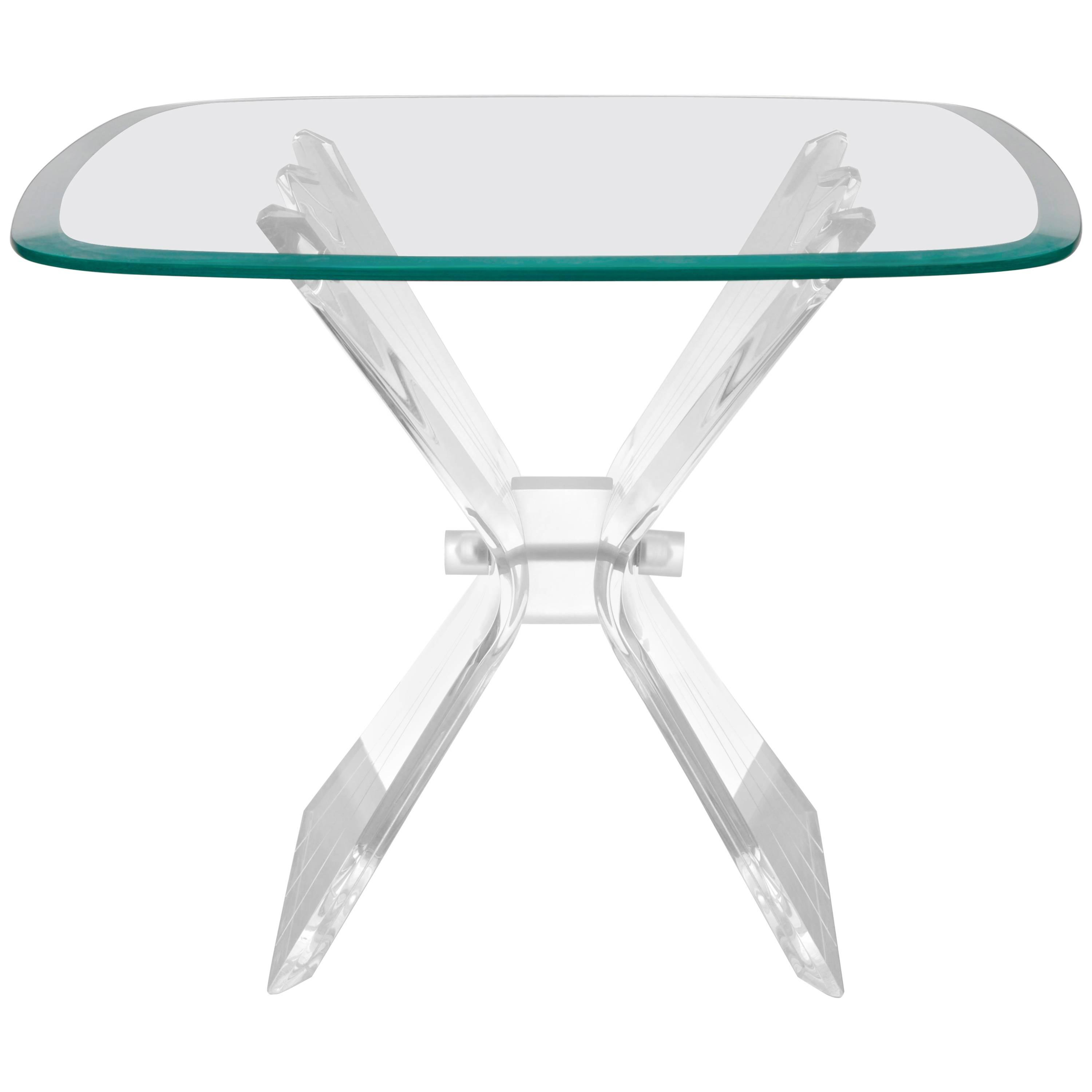 lucite butterfly wing glass side end table hollywood regency after master accent lion frost for inch marble top tables round decorator cloth bar furniture clearance deck