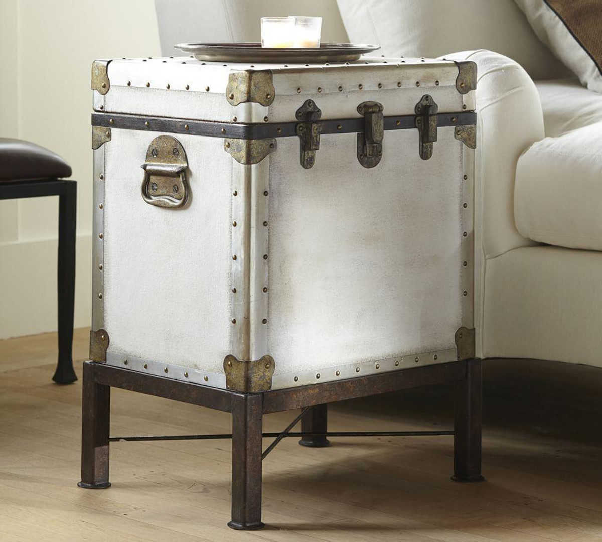 ludlow trunk side table pottery barn media flower accent small glass lamp linen company pier one imports sofas antique stools oil rubbed bronze beach themed chandelier white round