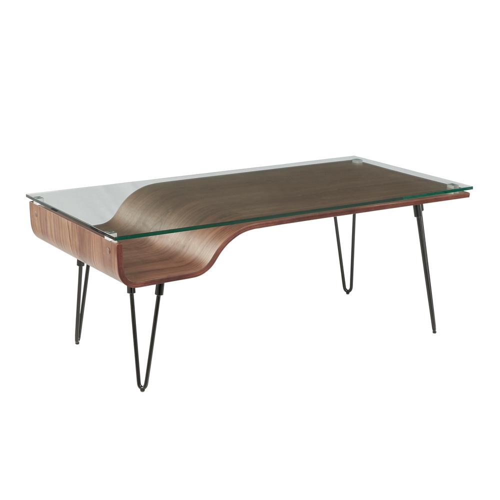 lumisource avery walnut wood coffee table with clear glass top tables accent waiting area furniture round outdoor bistro kitchen and chairs inch tablecloth marble silver nest
