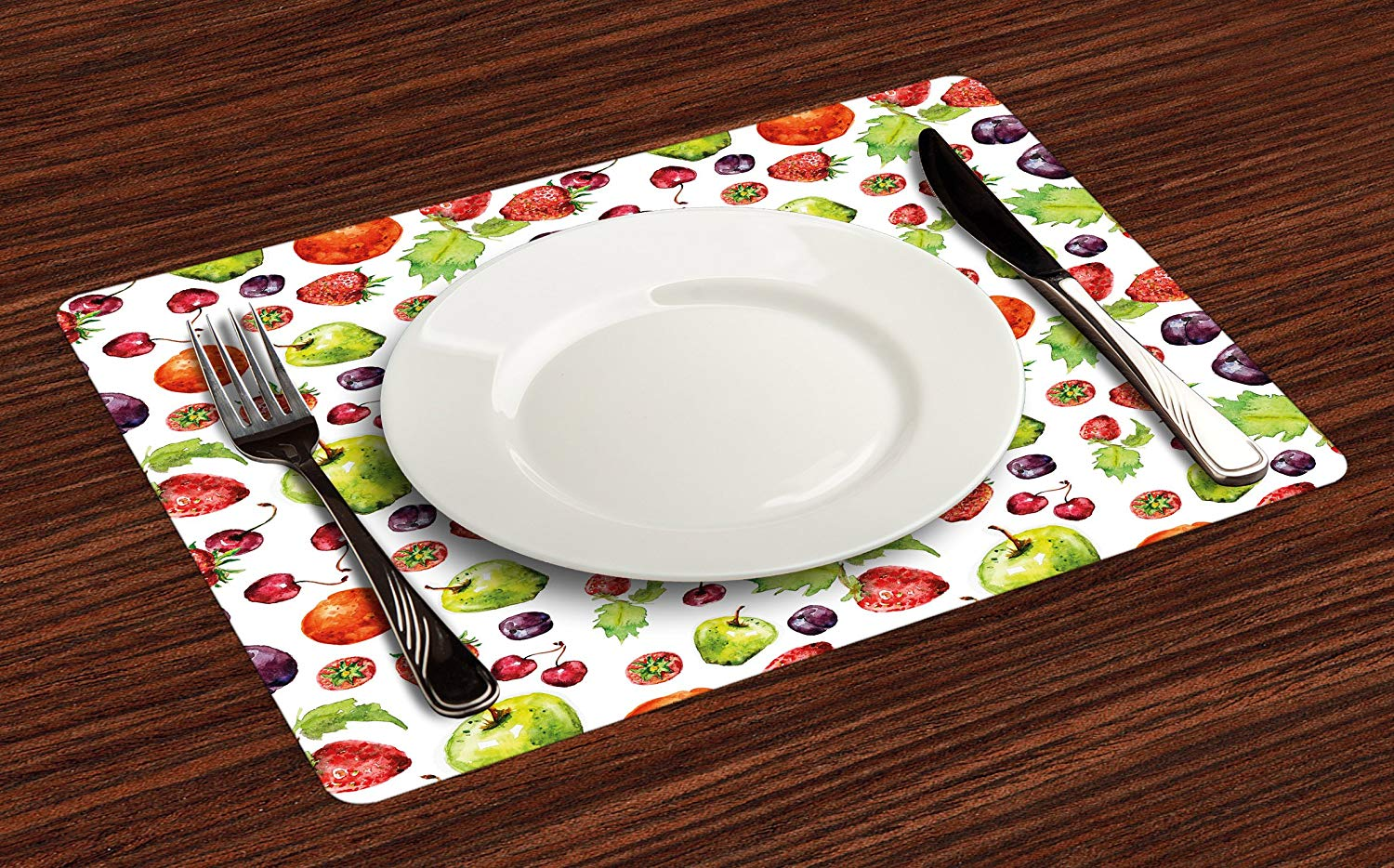 lunarable fruit place mats set strawberries pear table accent placemat cherries leaves plums apples peach fruits pattern artwork washable fabric placemats for dining wicker